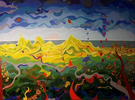 Aan zee, olieverf op canvas (60 x 80 cm)