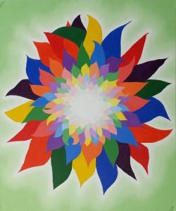 Veelkleurige bloem. Olieverf op canvas (50 x 60 cm)
