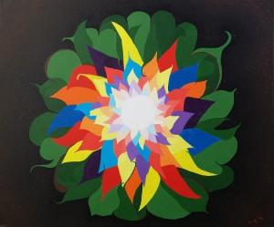 Veelkleurige bloem 2. Acrylverf op canvas (50 x 6-0 cm)