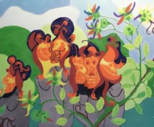Buiten. Olieverf op canvas (50 x 60 cm)