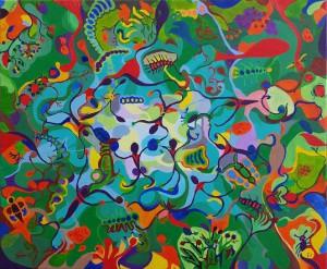 De dansers. Olieverf op canvas (50 x 60 cm)