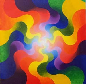 Drievoudige energiezoen. Olieverf op canvas (50 x 50 cm)