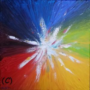 Kleurencirkel. Acrylverf op canvas (50 x 50 cm)