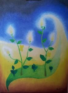 Lichtbloemen. Olieverf op canvas, (40 x 30 cm). Gereserveerd.