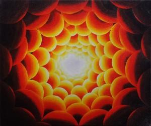 Een tunnel van geel-rood licht. Olieverf op canvas (50 x 60 cm)