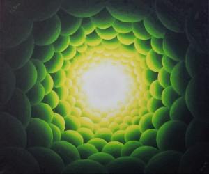 Een tunnel van groen licht. Olieverf op canvas (50 x 60 cm)