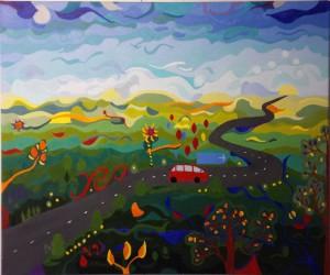 Onderweg, olieverf op canvas (50 x 60 cm)