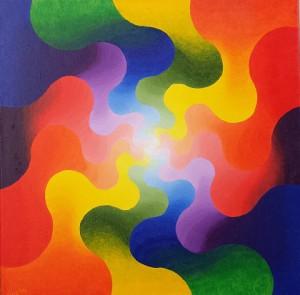 Dubbele energiezoen. Olieverf op canvas (50x50cm)