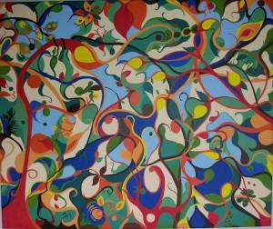 Voor elkaar. Acrylverf op canvas (50 x 60 cm)