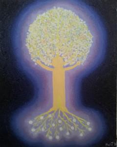Lichtende Voorlandboom. Olieverf op canvas (40 x 50 cm). Gereserveerd.